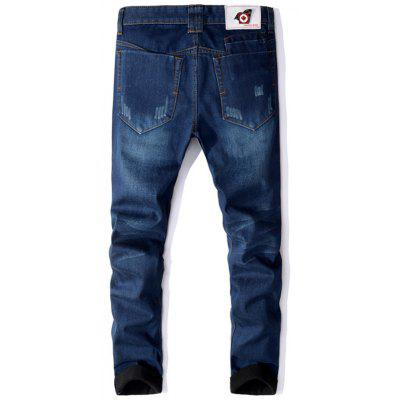 Zipper Fly Straight Leg Flocking JeansMens Pants<br>Zipper Fly Straight Leg Flocking Jeans<br><br>Closure Type: Zipper Fly<br>Fit Type: Regular<br>Material: Cotton, Polyester<br>Package Contents: 1 x Jeans<br>Pant Length: Long Pants<br>Waist Type: Mid<br>Wash: Medium<br>Weight: 0.9600kg<br>With Belt: No