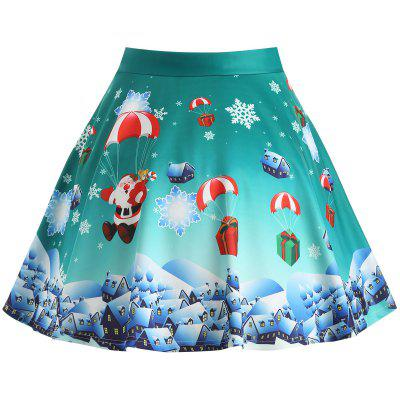 Buy GREEN 2XL Christmas Gift Santa Claus Print Plus Size Skirt for $20.47 in GearBest store