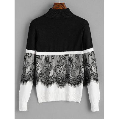 Lace Panel Mock Neck Pullover SweaterSweaters &amp; Cardigans<br>Lace Panel Mock Neck Pullover Sweater<br><br>Collar: Mock Neck<br>Material: Acrylic, Cotton, Polyester<br>Package Contents: 1 x Sweater<br>Pattern Type: Patchwork<br>Sleeve Length: Full<br>Style: Fashion<br>Type: Pullovers<br>Weight: 0.3100kg