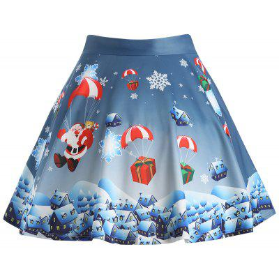 Buy STONE BLUE 3XL Christmas Gift Santa Claus Print Plus Size Skirt for $20.47 in GearBest store