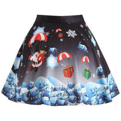 Buy BLACK 4XL Christmas Gift Santa Claus Print Plus Size Skirt for $20.47 in GearBest store