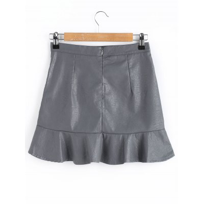 Faux Leather Ruffle Mini SkirtSkirts<br>Faux Leather Ruffle Mini Skirt<br><br>Embellishment: Ruffles<br>Length: Mini<br>Material: Polyester<br>Package Contents: 1 x Skirt<br>Pattern Type: Solid<br>Silhouette: A-Line<br>Weight: 0.3100kg<br>With Belt: No