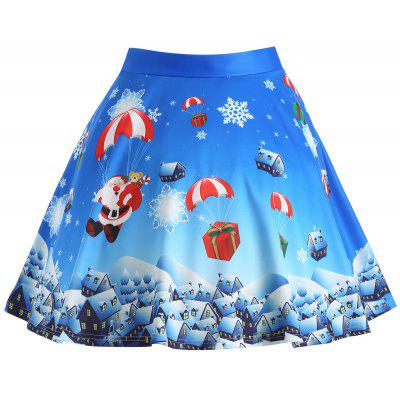 Buy BLUE 3XL Christmas Gift Santa Claus Print Plus Size Skirt for $20.47 in GearBest store