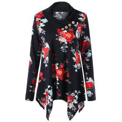 Buy Heap Collar Floral Asymmetric Tunic Top, FLORAL, XL, Apparel, Women's Clothing, Blouses for $25.84 in GearBest store