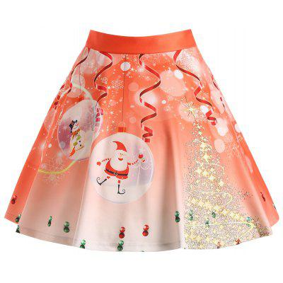 Buy ORANGE XL Christmas Santa Claus Tree Print Plus Size Skirt for $20.47 in GearBest store