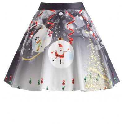 Buy GRAY 3XL Christmas Santa Claus Tree Print Plus Size Skirt for $20.47 in GearBest store