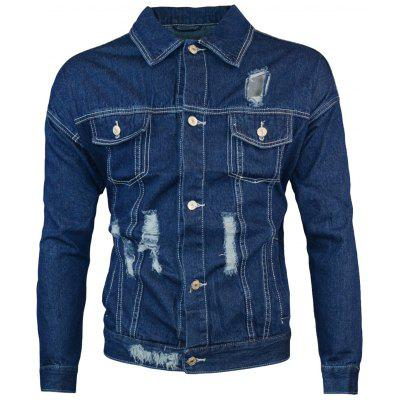 Double Chest Pocket Ripped Denim Jacket
