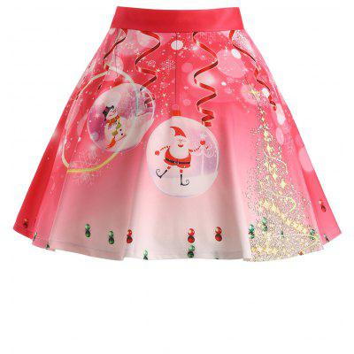 Buy WATERMELON RED 3XL Christmas Santa Claus Tree Print Plus Size Skirt for $20.47 in GearBest store