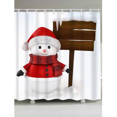 Snowy Christmas Snowman Pattern Shower Curtain