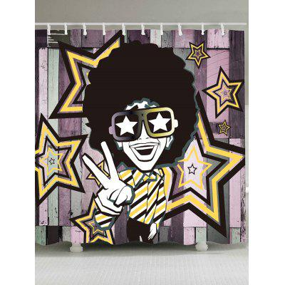Afro Curly Hair Hip Hop Man Pattern Shower Curtain