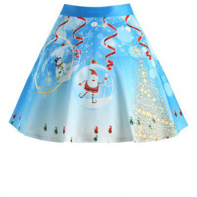 Buy BLUE 3XL Christmas Santa Claus Tree Print Plus Size Skirt for $20.47 in GearBest store