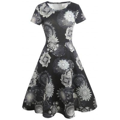 Floral Painting Vintage Fit and Flare Dress