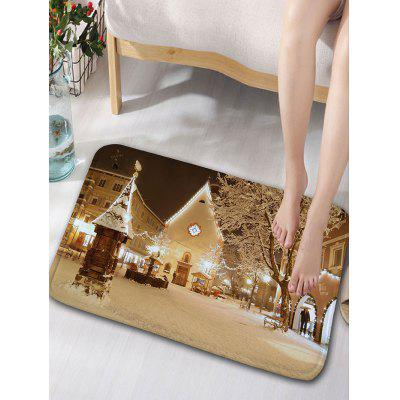 Christmas Snowscape Printed Skidproof Flannel Bath Mat