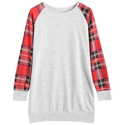 Plaid Panel Raglan Sleeve Longline Sweatshirt