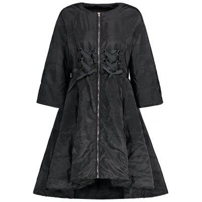 Zip Up Lace Up Skirted Coat
