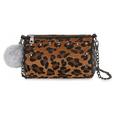 Buy LEOPARD GOLD COLOR LENS Pompom Studs Chain Crossbody Bag for $16.47 in GearBest store