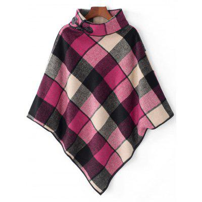Cowl Neck Colorful Plaid Cape