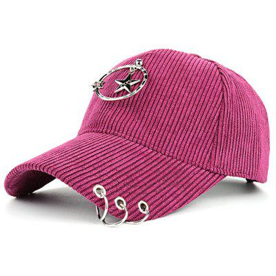 Outdoor Removeable Metal Rings Embellished Corduroy Baseball Hat