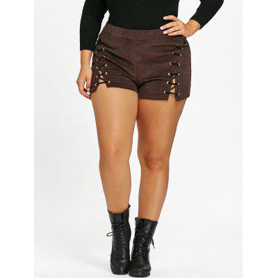 Plus Size Lace Up Corduroy Shorts