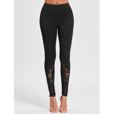 Lace Panel Hollow Out Tight LeggingsPants<br>Lace Panel Hollow Out Tight Leggings<br><br>Material: Polyester, Spandex<br>Package Contents: 1 x Leggings<br>Pattern Type: Others<br>Style: Fashion<br>Waist Type: High<br>Weight: 0.2500kg