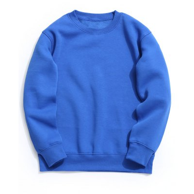 Buy Crew Neck Fleece Mens Sweatshirt BLUE XL for $34.64 in GearBest store