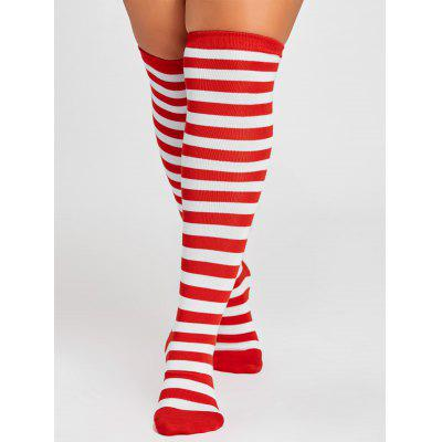 Pair of Striped Pattern Embellished Color Splice Thigh High Socks