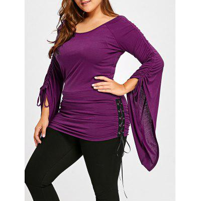 Plus Size Ruched Flare Sleeve Top