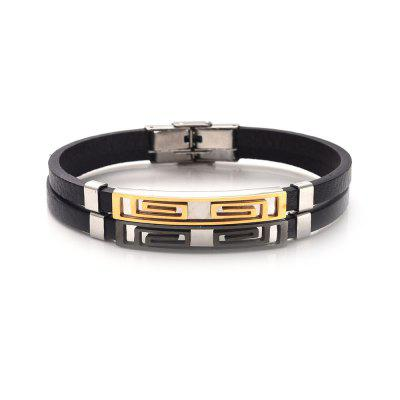 Faux Leather Stainless Steel Fret Pattern BraceletMens Jewelry<br>Faux Leather Stainless Steel Fret Pattern Bracelet<br><br>Gender: For Men<br>Length: 21.3CM<br>Package Contents: 1 x Bracelet<br>Shape/Pattern: Geometric<br>Style: Trendy<br>Weight: 0.0300kg
