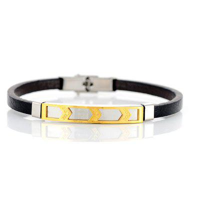Faux Leather Stainless Steel Cool BraceletMens Jewelry<br>Faux Leather Stainless Steel Cool Bracelet<br><br>Chain Type: Leather Chain<br>Gender: For Men<br>Length: 21.3CM<br>Package Contents: 1 x Bracelet<br>Shape/Pattern: Geometric<br>Style: Trendy<br>Weight: 0.0300kg
