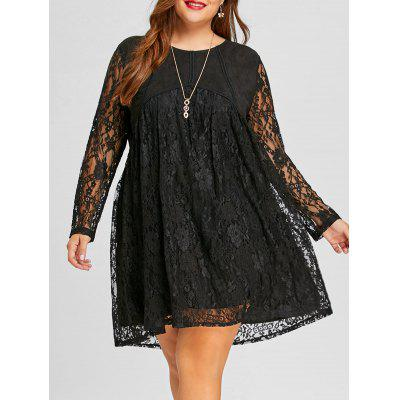Buy Long Sleeve Plus Size Lace Shift Dress, BLACK, 3XL, Apparel, Women's Clothing, Plus Size, Plus Size Dresses for $30.04 in GearBest store