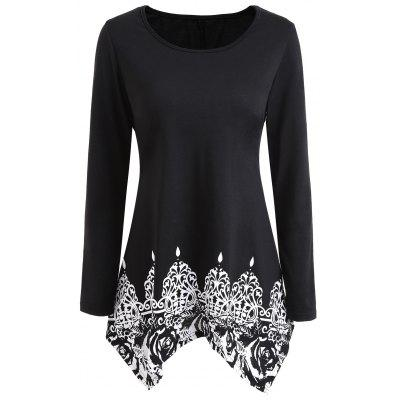 Print Scoop Neck Long Sleeve Swing Tunic Top