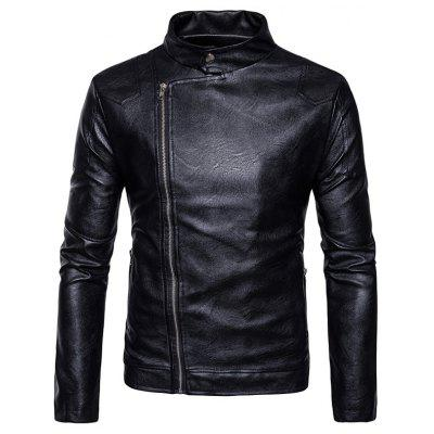 Buy Stand Collar Panel Design Faux Leather Zip Up Jacket, BLACK, L, Apparel, Men's Clothing, Men's Jackets & Coats for $69.15 in GearBest store