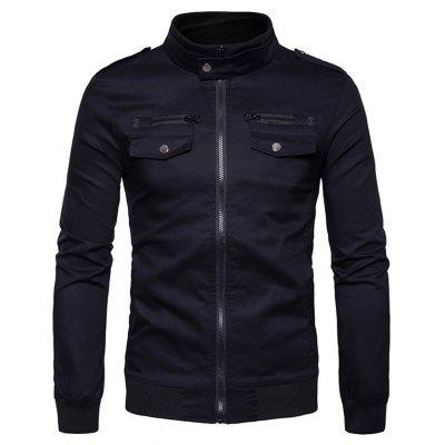 Rib Stand Collar Epaulet Zip Up Cargo Jacket