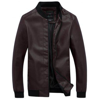 Zip Front Stand Collar Artificial Leather Jacket