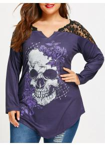 Plus Size Lace Panel Skull Print Asymmetric Top