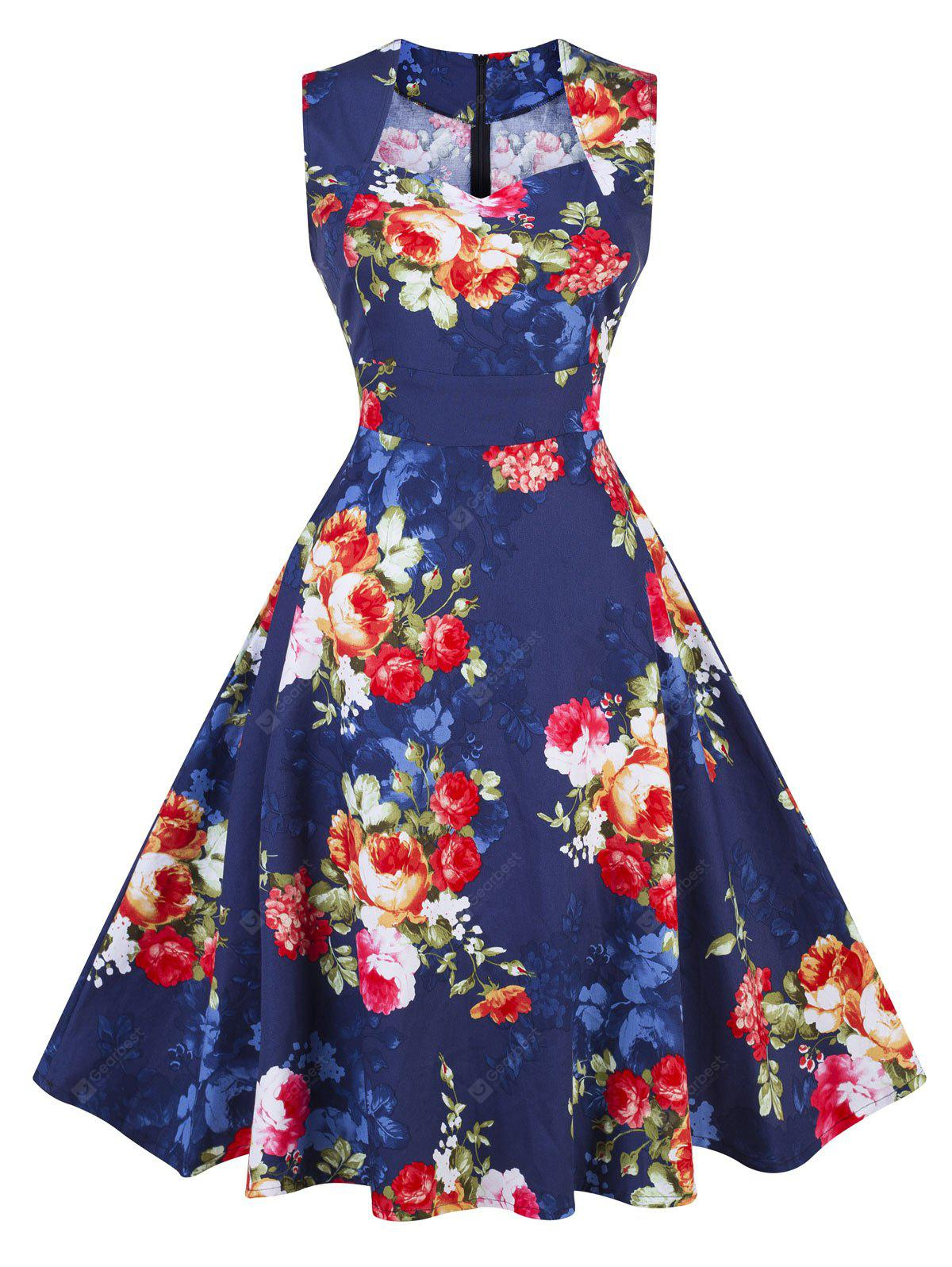 Vintage Floral Print Pin Up Party Dress