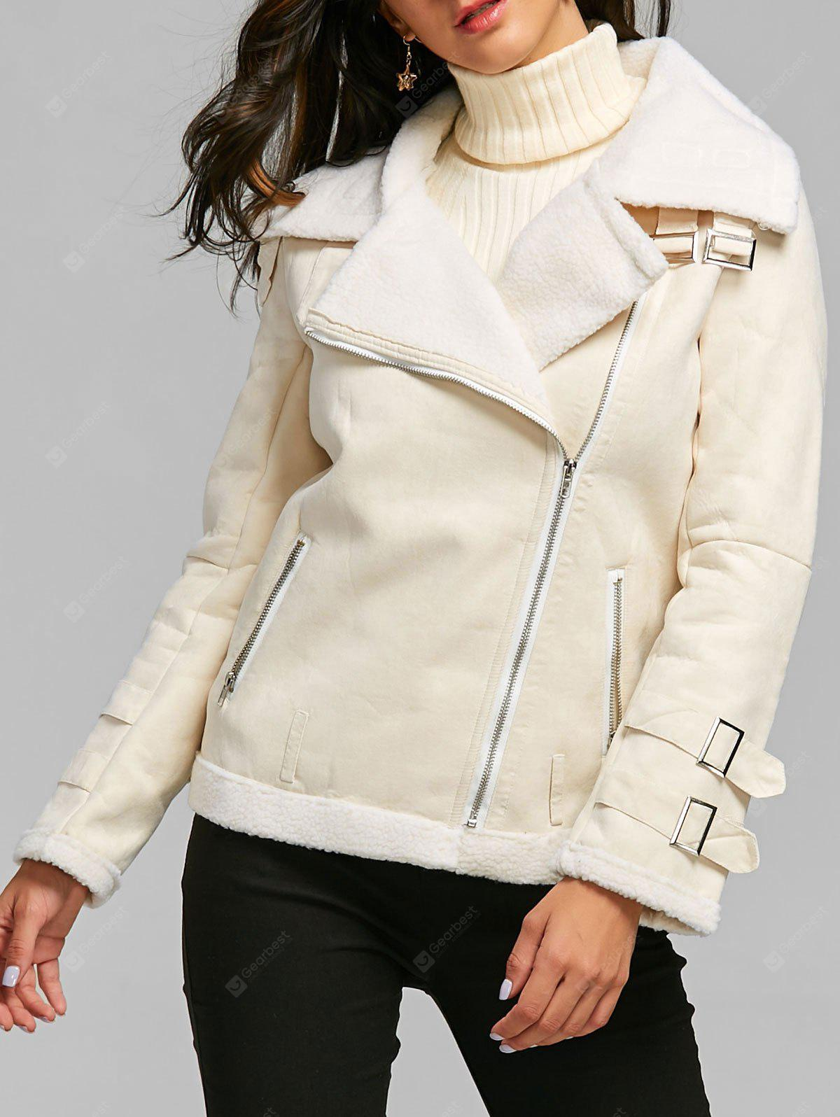 Oblique Zipper Shearling Coat