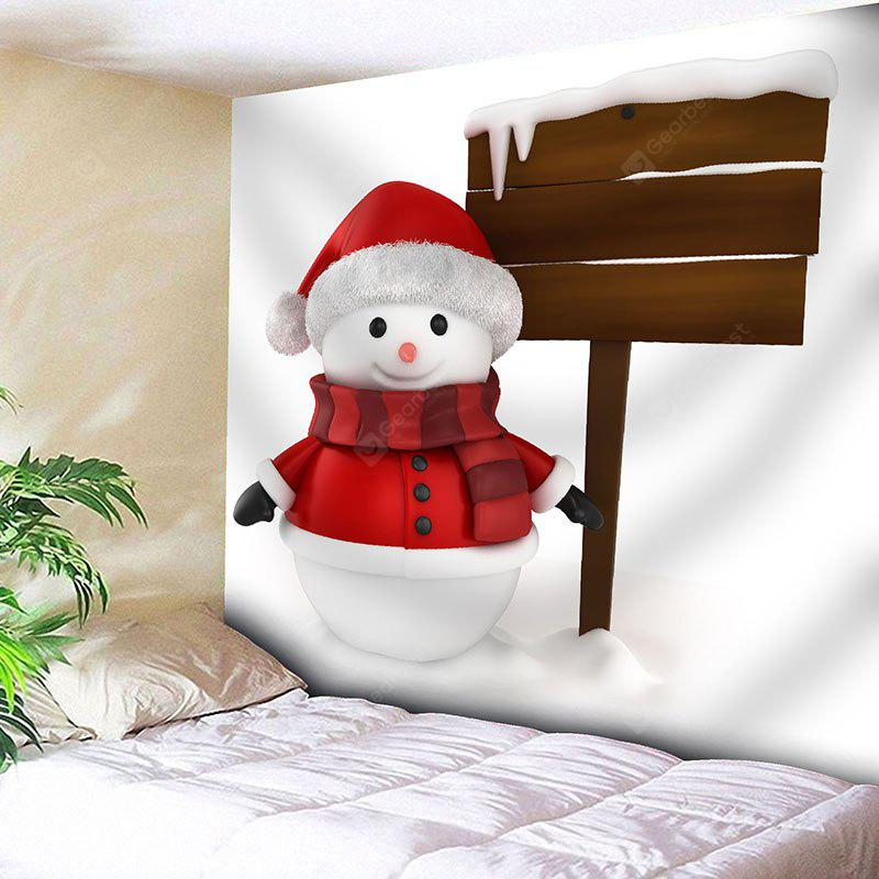 Snowy Christmas Snowman Pattern Wall Art Tapestry
