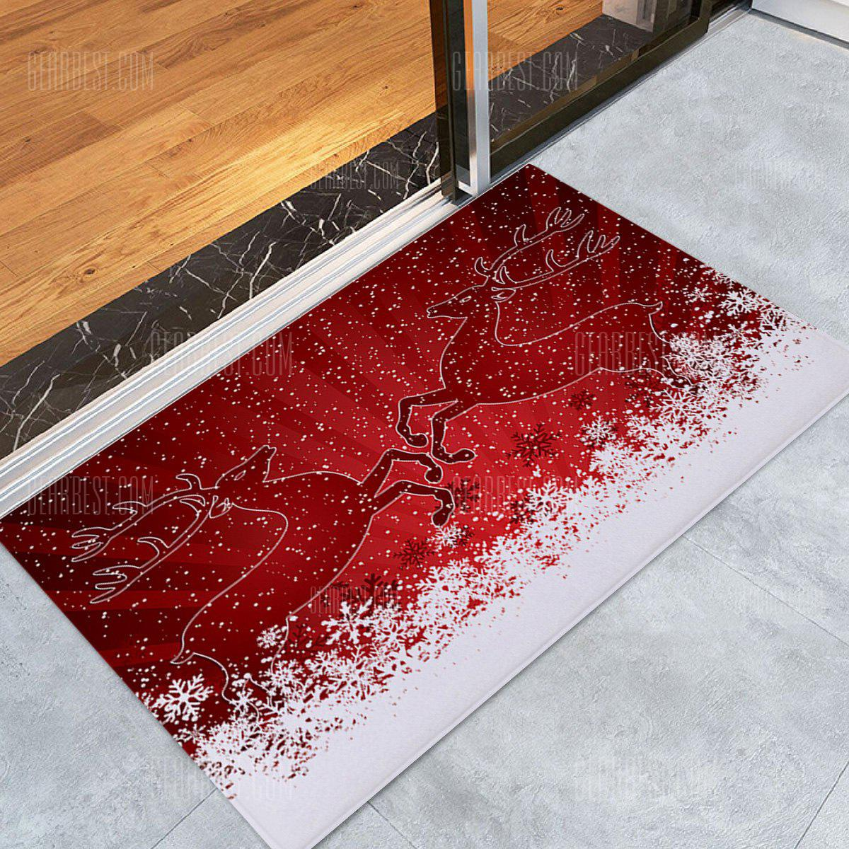 Christmas Snowfield Deer Pattern Water Absorption Area Rug