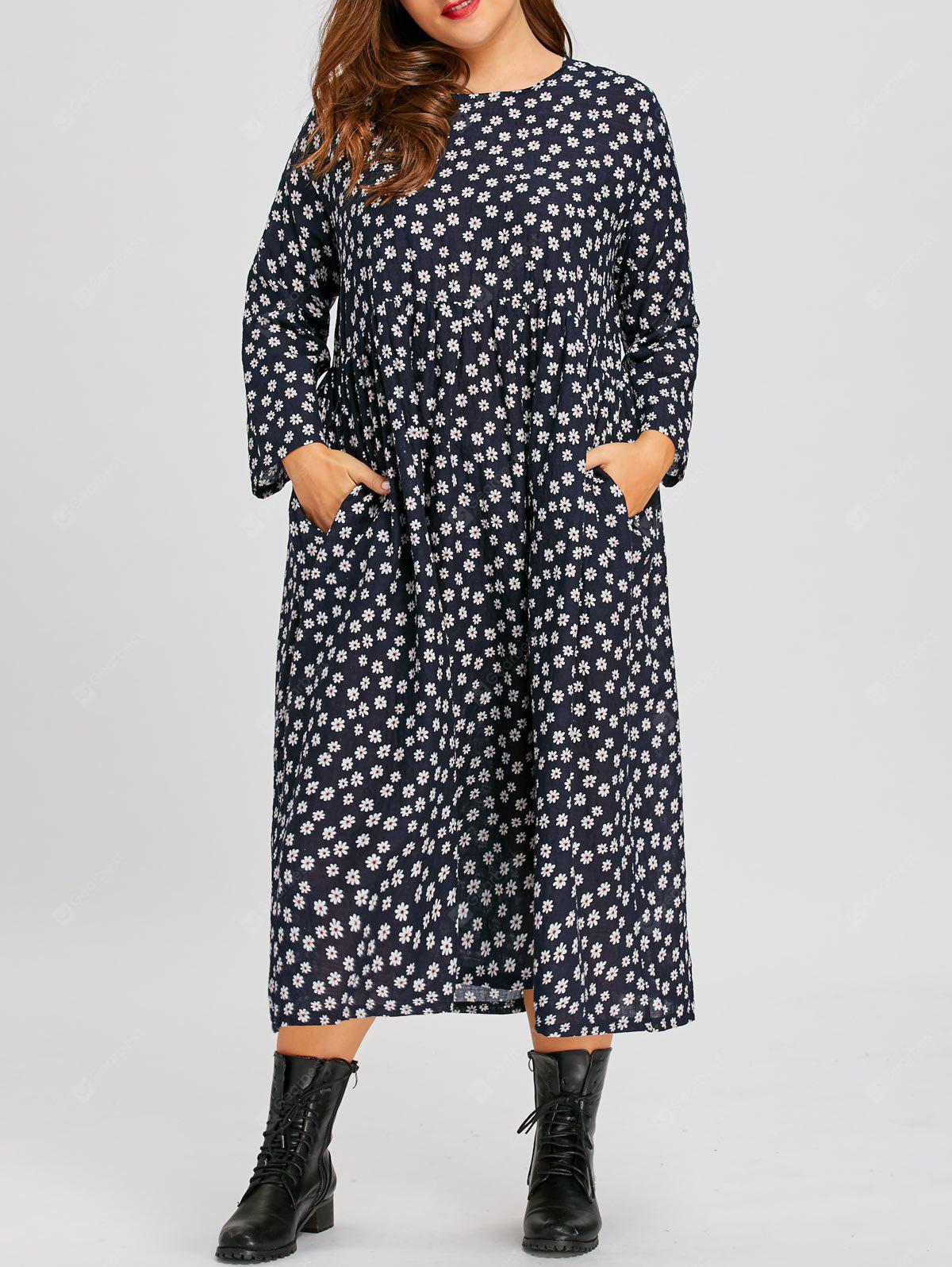 Plus Size Tiny Floral Country Dress with Pockets