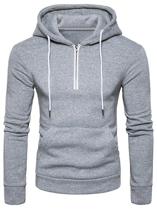 Hooded Half Zip Pouch Pocket Fleece Pullover Hoodie