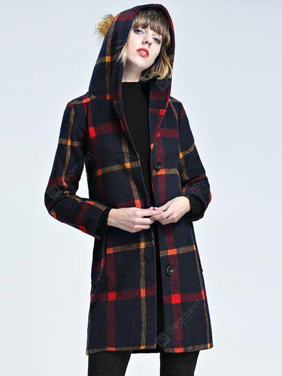 Hooded Checked Wool Blend Coat