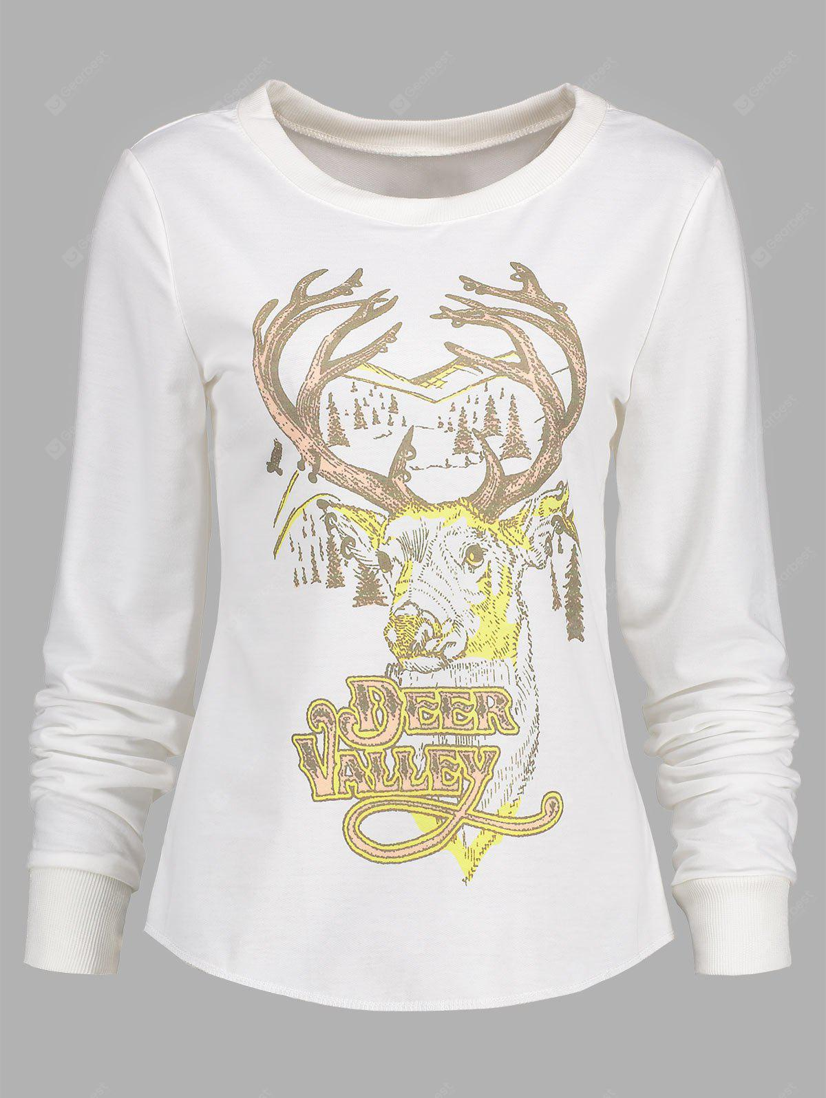 Long Sleeve Christmas Deer Print T-shirt