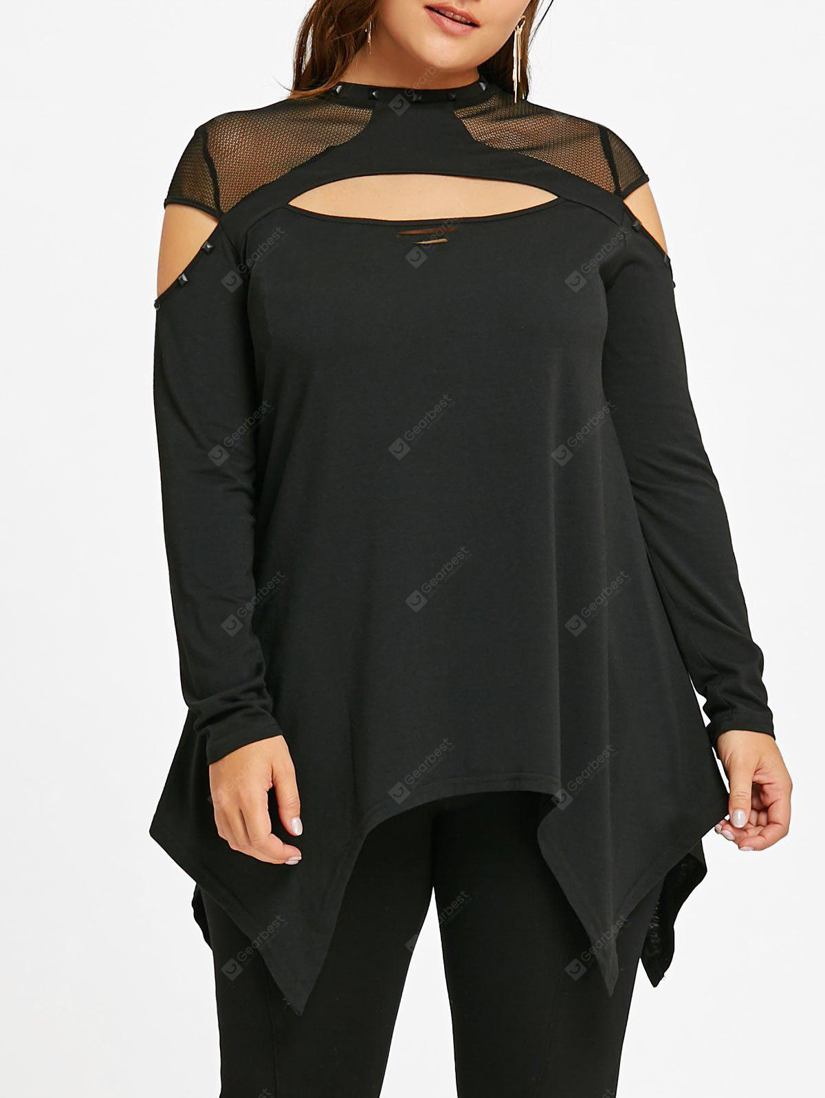 Plus Size Cut Out Mesh Insert Top