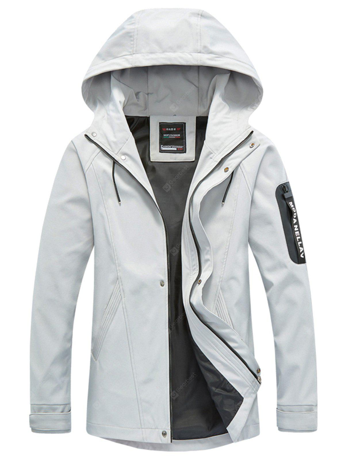 Zip Up with Snap Button Hooded Jacket