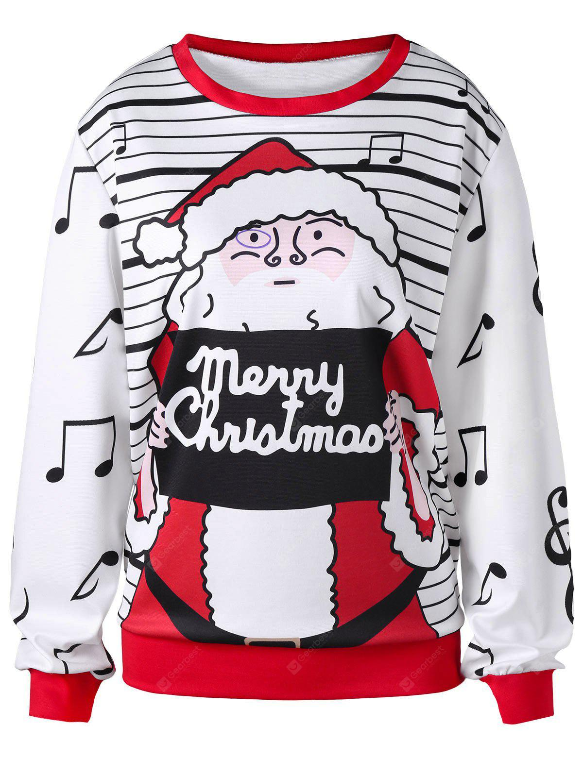 Plus Size Stripes Notas musicales Merry Christmas Pullover Sweatshirt