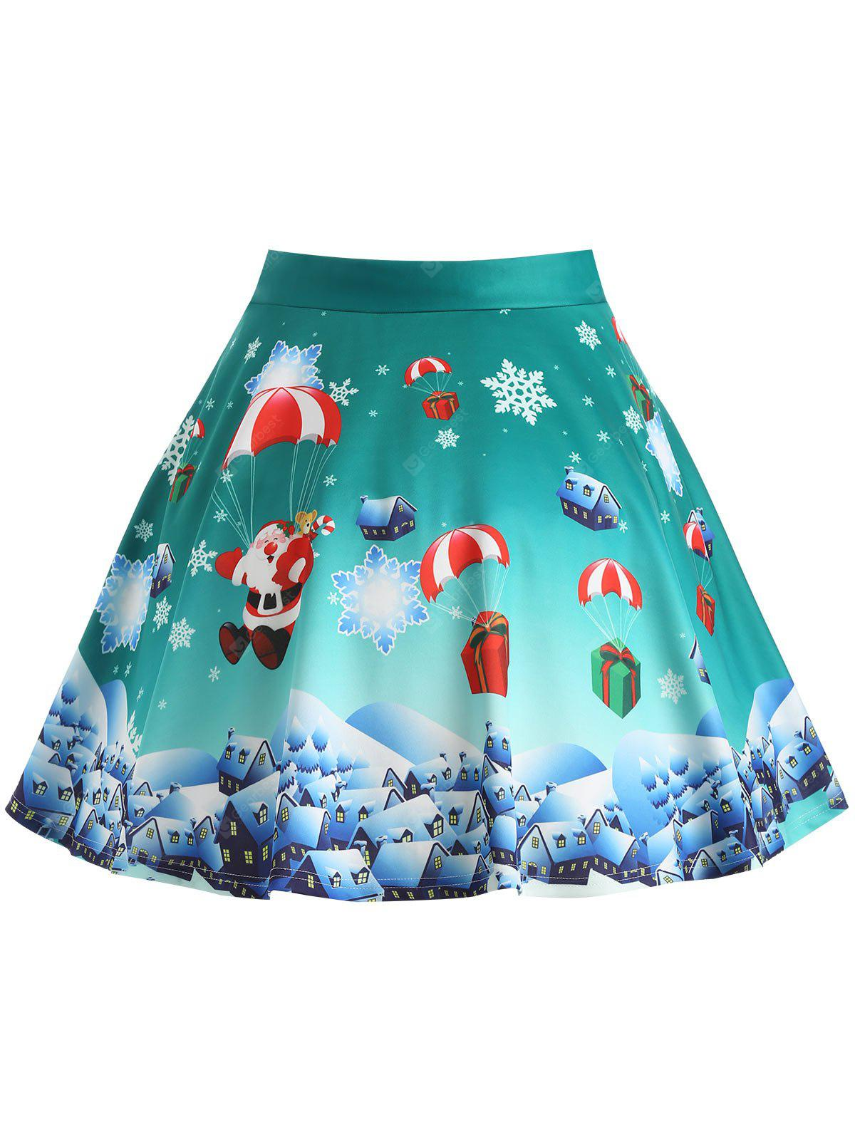 Christmas Gift Santa Claus Print Plus Size Skirt -  27.85 Free ... cee47a3f9af8