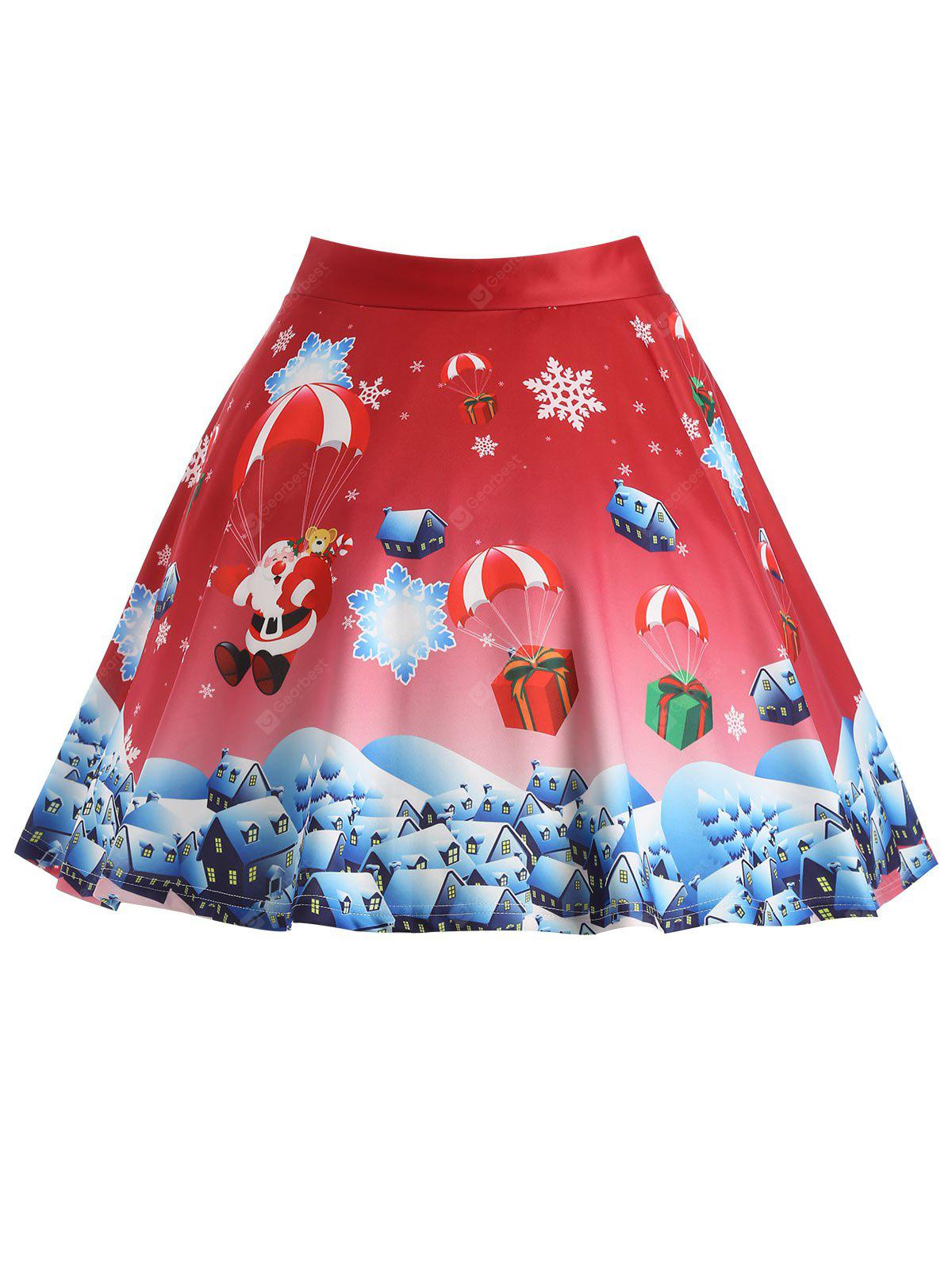 RED 3XL Christmas Gift Santa Claus Print Plus Size Skirt