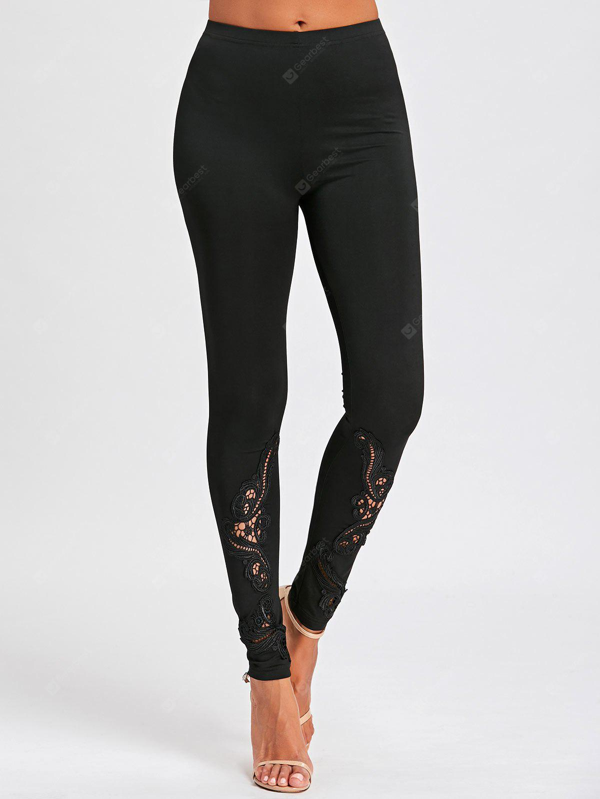 Lace Panel Hollow Out Tight Leggings