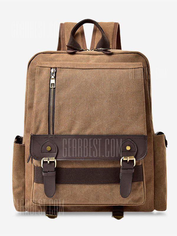 Double Buckle Straps Color Block Backpack
